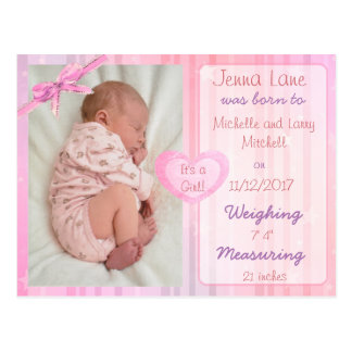 Pink Bow Baby Girl Birth Announcement Postcard