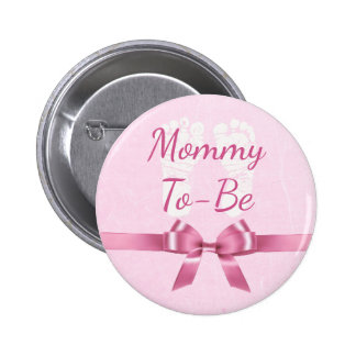 Pink Bow Big Mommy to be Baby Shower Button