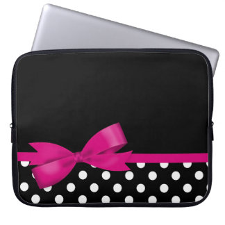 Pink Bow Black and White Polka Dots Laptop Sleeve