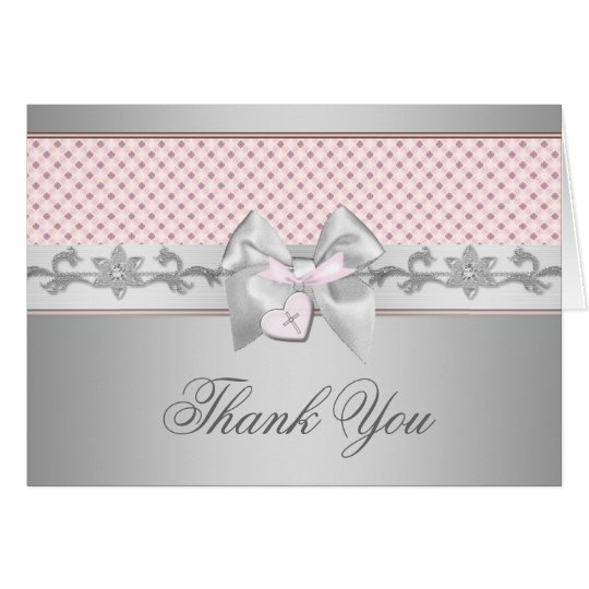 Pink Bow Cross Thank You Card