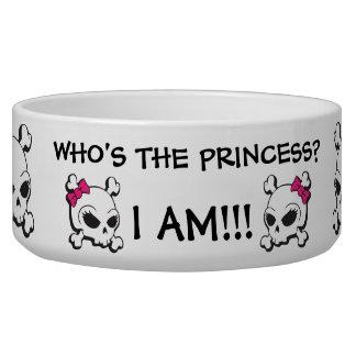 Pink Bow Crossbones Skull Dog Bowl