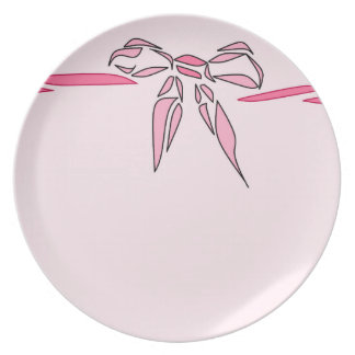 Pink Bow Decorative Ribbon Gifts Party Plates
