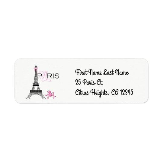 Pink Bow Eiffel Tower Paris France Poodle Chic Return Address Label