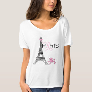 Pink Bow Eiffel Tower Paris France Poodle Chic T-Shirt