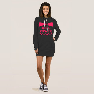 Pink Bow Girl Power Hoodie Dress