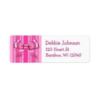 Pink Bow Glitter Stripes Return Address Sticker Return Address Label
