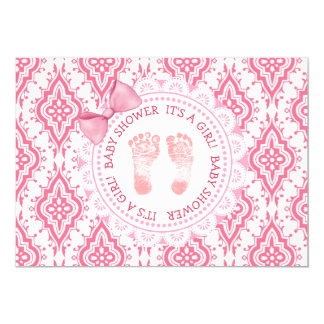 Pink Bow & Lace Its a girl Baby Shower Invitation