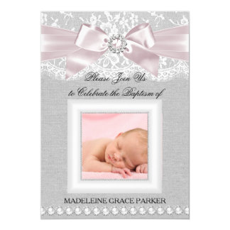 Pink Bow & Lace Photo Baptism/Christening Invite