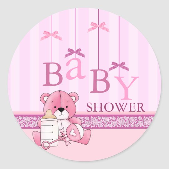 Pink Bow Mobile Baby Shower Sticker