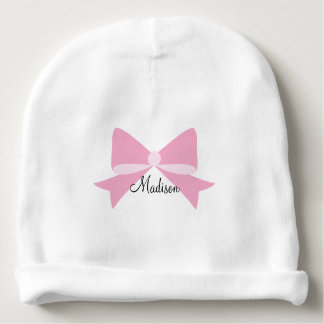 Pink Bow Monogram Baby Beanie