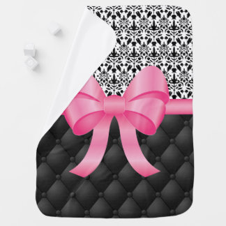 Pink Bow On Black Patterned Backgrounds Baby Blanket