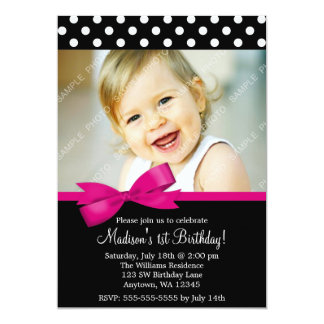 Pink Bow Polka Dots 1st Birthday Girl Photo Card