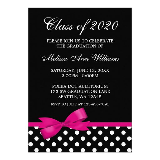 Pink Bow Polka Dots Graduation Announcement