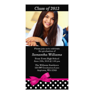 Pink Bow Polka Dots Graduation Party Announcement Photo Card