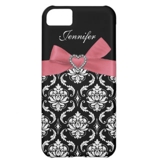 Pink Bow Print with Damask iPhone Case