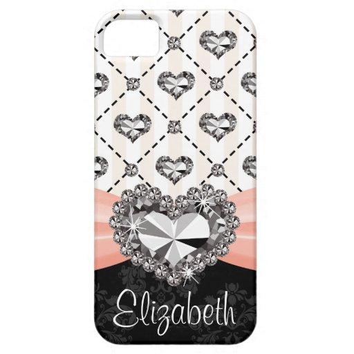 Pink Bow Rhinestone Heart iPhone 5 Covers