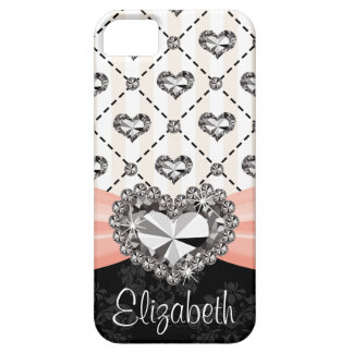 Pink Bow Rhinestone Heart iPhone 5 Covers