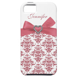 Pink Bow White Damask & Print Jewels iPhone Case