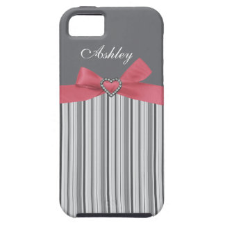 Pink Bow with Grey Stripe & First Name iPhone Case