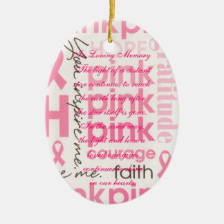 Pink Bows Breast Cancer Death Memorial Ceramic Ornament