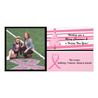 Pink Breast Cancer Awareness Photo Christmas Card