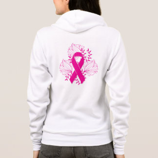 Pink Breast Cancer awareness ribbon flower outline Hoodie