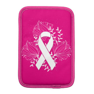 Pink Breast Cancer awareness ribbon flower outline iPad Mini Sleeve