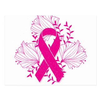Pink Breast Cancer awareness ribbon flower outline Postcard