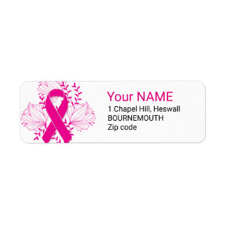 Pink Breast Cancer awareness ribbon flower outline Return Address Label