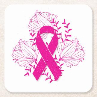 Pink Breast Cancer awareness ribbon flower outline Square Paper Coaster