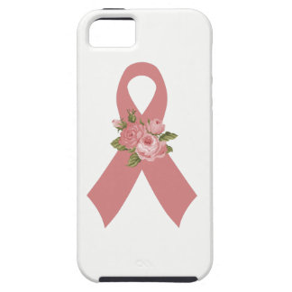 Pink Breast Cancer Awareness Ribbon with Pink Rose iPhone 5 Cases