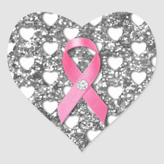 Pink Breast Cancer Ribbon Silver Glitter Look Heart Sticker