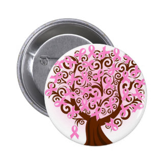 Pink Breast Cancer Tree of Hope 6 Cm Round Badge