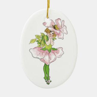 Pink Briar Rose Flower Floral Funny Cute Girl Ceramic Ornament