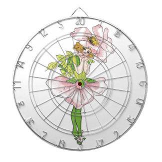 Pink Briar Rose Flower Floral Funny Cute Girl Dartboard