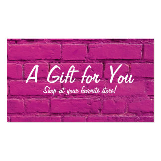 Pink Brick Gift Card Pack Of Standard Business Cards