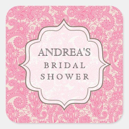 Pink Bridal Shower Dessert Table Tag Label Square Sticker