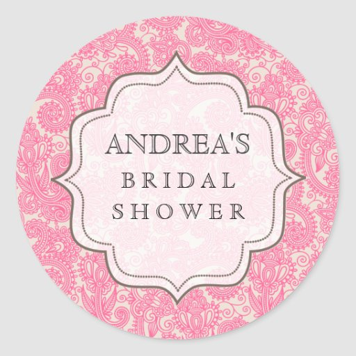Pink Bridal Shower Dessert Table Tag Label Round Stickers