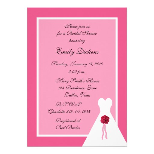Pink Bridal Shower Invitation, Bridal Gown on Pink Personalized Invitations
