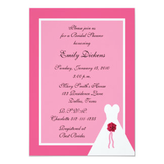 Pink Bridal Shower Invitation, Bridal Gown on Pink 13 Cm X 18 Cm Invitation Card