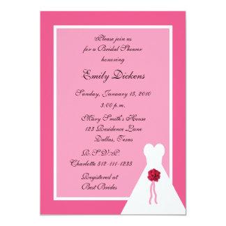 Pink Bridal Shower Invitation, Bridal Gown on Pink Card
