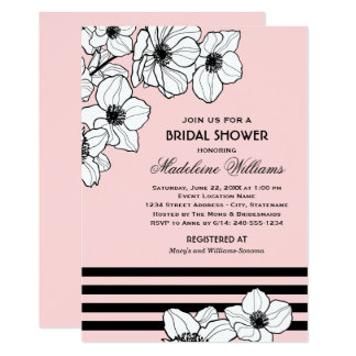 Pink Bridal Shower Invitation | Floral Design