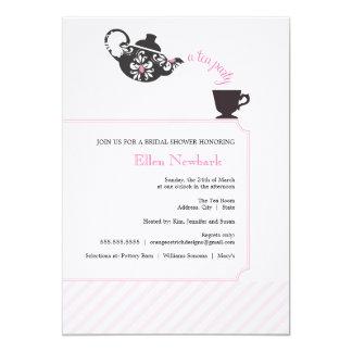"Pink Bridal Shower Invitation - Tea 5"" X 7"" Invitation Card"