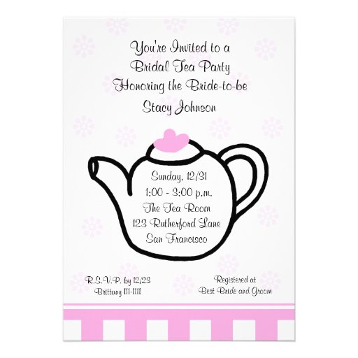 Pink Bridal Shower Tea Party Invitation Personalized Announcements
