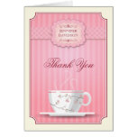 Pink Bridal Shower Tea Party Thank You Note Card