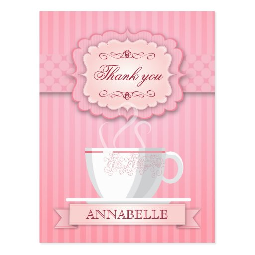 Pink Bridal Shower Tea Party Thank You Post Cards