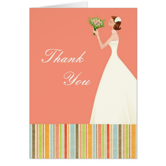 Pink Bridal Shower Thank You Cards with Stripes
