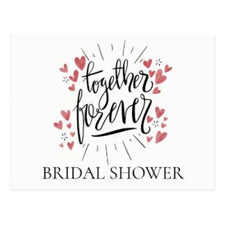 Pink Bridal Shower Together Forever Hearts Wedding Postcard