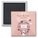 """Pink Bride and Groom Getaway car """"Save the Date"""" Square Magnet"""
