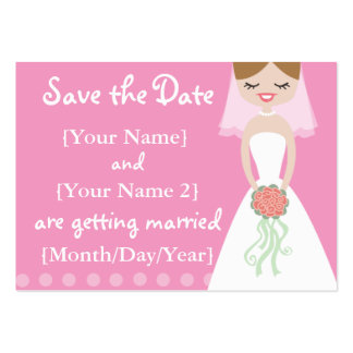 Pink Bride Save the Date Cards Large Business Cards (Pack Of 100)
